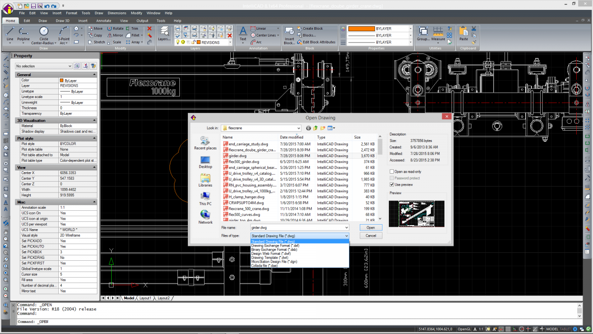 IntelliCAD *.dwg native file support