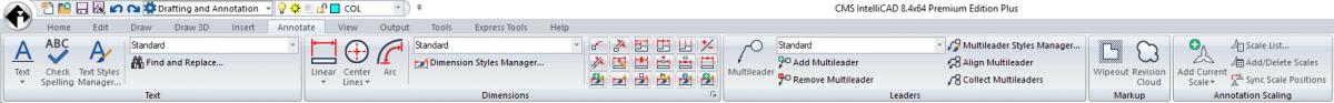 CMS IntelliCAD 8.4 Premium - New Annotate tab